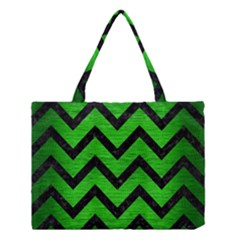 Chevron9 Black Marble & Green Brushed Metal (r) Medium Tote Bag