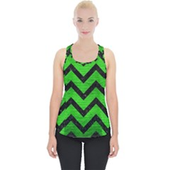 Chevron9 Black Marble & Green Brushed Metal (r) Piece Up Tank Top