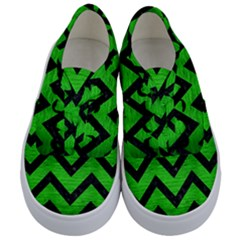 Chevron9 Black Marble & Green Brushed Metal (r) Kids  Classic Low Top Sneakers