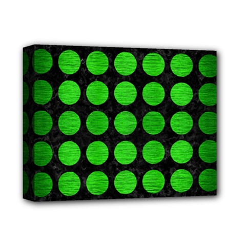 Circles1 Black Marble & Green Brushed Metal Deluxe Canvas 14  X 11