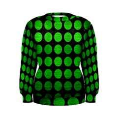 Circles1 Black Marble & Green Brushed Metal Women s Sweatshirt