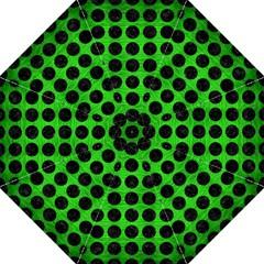 Circles1 Black Marble & Green Brushed Metal (r) Folding Umbrellas