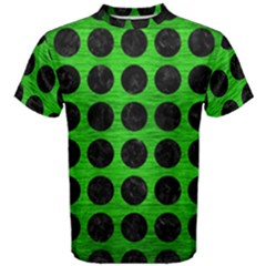 Circles1 Black Marble & Green Brushed Metal (r) Men s Cotton Tee