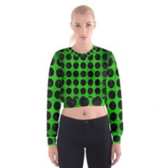 Circles1 Black Marble & Green Brushed Metal (r) Cropped Sweatshirt