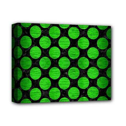 Circles2 Black Marble & Green Brushed Metal Deluxe Canvas 14  X 11