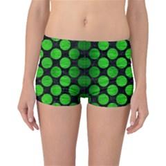 Circles2 Black Marble & Green Brushed Metal Boyleg Bikini Bottoms