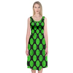 Circles2 Black Marble & Green Brushed Metal Midi Sleeveless Dress