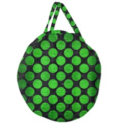 Circles2 Black Marble & Green Brushed Metal Giant Round Zipper Tote