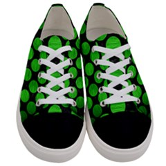 Circles2 Black Marble & Green Brushed Metal Women s Low Top Canvas Sneakers