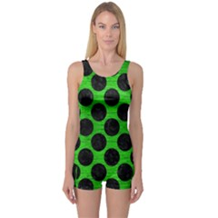 Circles2 Black Marble & Green Brushed Metal (r) One Piece Boyleg Swimsuit