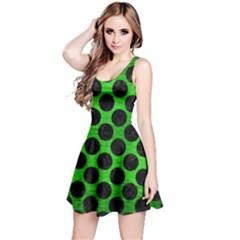 Circles2 Black Marble & Green Brushed Metal (r) Reversible Sleeveless Dress