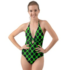 Circles2 Black Marble & Green Brushed Metal (r) Halter Cut Out One Piece Swimsuit