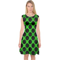 Circles2 Black Marble & Green Brushed Metal (r) Capsleeve Midi Dress