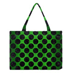 Circles2 Black Marble & Green Brushed Metal (r) Medium Tote Bag
