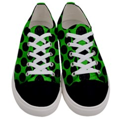 Circles2 Black Marble & Green Brushed Metal (r) Women s Low Top Canvas Sneakers