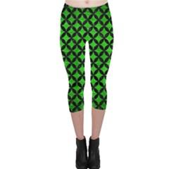 Circles3 Black Marble & Green Brushed Metal (r) Capri Leggings