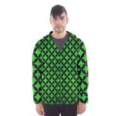 Circles3 Black Marble & Green Brushed Metal (r) Hooded Wind Breaker (men)