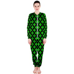 Circles3 Black Marble & Green Brushed Metal (r) Onepiece Jumpsuit (ladies)