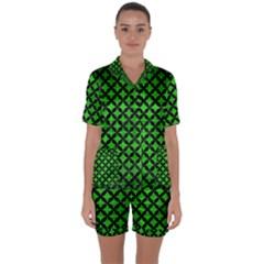 Circles3 Black Marble & Green Brushed Metal (r) Satin Short Sleeve Pyjamas Set