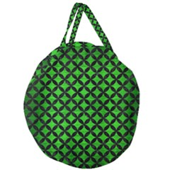 Circles3 Black Marble & Green Brushed Metal (r) Giant Round Zipper Tote