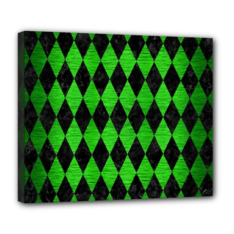 Diamond1 Black Marble & Green Brushed Metal Deluxe Canvas 24  X 20