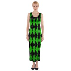 Diamond1 Black Marble & Green Brushed Metal Fitted Maxi Dress