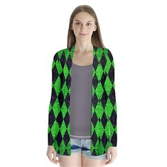 Diamond1 Black Marble & Green Brushed Metal Drape Collar Cardigan