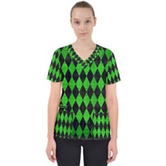Diamond1 Black Marble & Green Brushed Metal Scrub Top