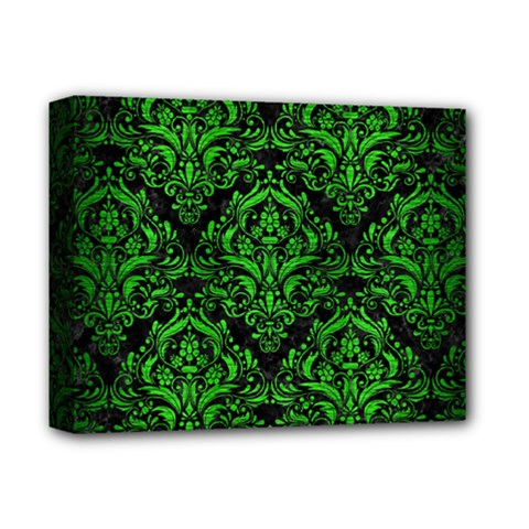 Damask1 Black Marble & Green Brushed Metal Deluxe Canvas 14  X 11