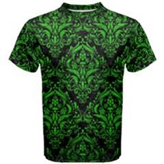 Damask1 Black Marble & Green Brushed Metal Men s Cotton Tee