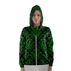 Damask1 Black Marble & Green Brushed Metal Hooded Wind Breaker (women)