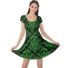 Damask1 Black Marble & Green Brushed Metal Cap Sleeve Dress