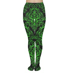 Damask1 Black Marble & Green Brushed Metal Women s Tights