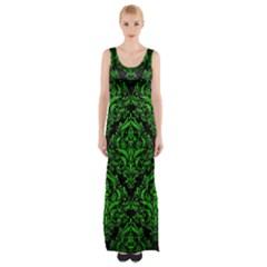 Damask1 Black Marble & Green Brushed Metal Maxi Thigh Split Dress