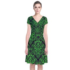 Damask1 Black Marble & Green Brushed Metal Short Sleeve Front Wrap Dress
