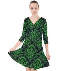 Damask1 Black Marble & Green Brushed Metal Quarter Sleeve Front Wrap Dress