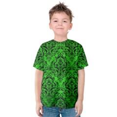 Damask1 Black Marble & Green Brushed Metal (r) Kids  Cotton Tee