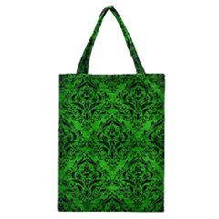 Damask1 Black Marble & Green Brushed Metal (r) Classic Tote Bag