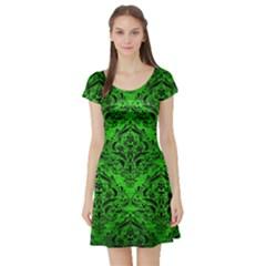 Damask1 Black Marble & Green Brushed Metal (r) Short Sleeve Skater Dress