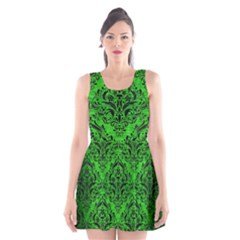 Damask1 Black Marble & Green Brushed Metal (r) Scoop Neck Skater Dress