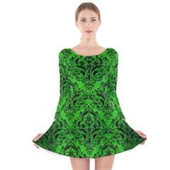 Damask1 Black Marble & Green Brushed Metal (r) Long Sleeve Velvet Skater Dress