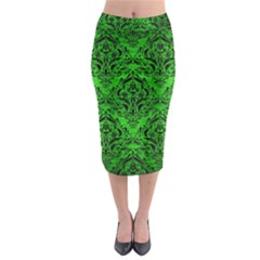 Damask1 Black Marble & Green Brushed Metal (r) Midi Pencil Skirt