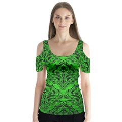 Damask1 Black Marble & Green Brushed Metal (r) Butterfly Sleeve Cutout Tee