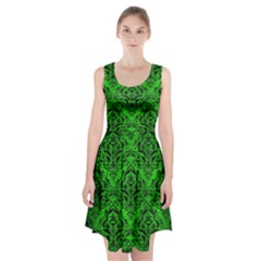 Damask1 Black Marble & Green Brushed Metal (r) Racerback Midi Dress