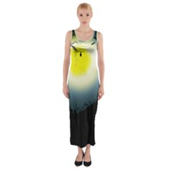 Halloween Landscape Fitted Maxi Dress