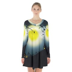 Halloween Landscape Long Sleeve Velvet V Neck Dress