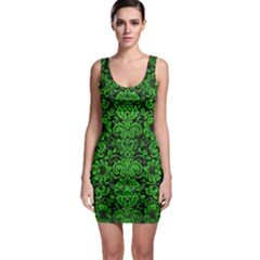 Damask2 Black Marble & Green Brushed Metal Bodycon Dress