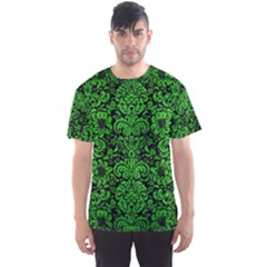 Damask2 Black Marble & Green Brushed Metal Men s Sports Mesh Tee