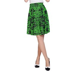 Damask2 Black Marble & Green Brushed Metal A Line Skirt