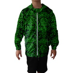 Damask2 Black Marble & Green Brushed Metal Hooded Wind Breaker (kids)